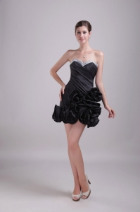 Black Little Black/Cocktail Dress Sweetheart Mini-length Beading