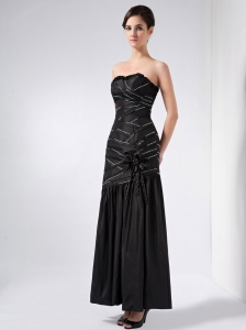 Black Ankle-length Mother Of The Bride Dress Beading Scattered