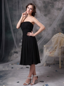 Strapless Little Black/Homecoming Dress Tea-length Ruch Chiffon