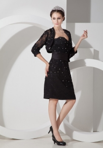Sweetheart Black Lace Belt Beading Mother of the Bride Dress