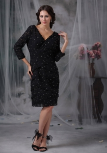 Black Mother of the Bride Dress V-neck 3/4 Sleeves Special Fabric