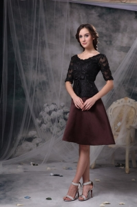 Black and Brown Scoop Knee-length Satin Mother Of The Bride Dress