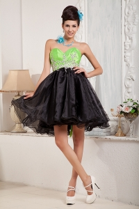 Mini-length Prom Little Black Dress Sweetheart Organza Beading