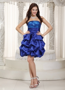 Nightclub/Homecoming Dress Blue Strapless Knee-length Sequins