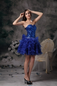 Royal Blue Nightclub/Cocktail Dress Mini-length Sequins Sweetheart
