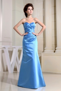 Custom Made Dress for Bridesmaid Sky Blue Sweetheart and Ruch