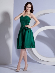 Green Cocktail Dress Sweetheart Taffeta Knee-length