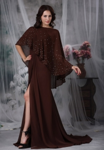 Brown MOther Of The Bride Dress Brush Train Chiffon Ruch