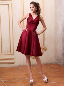 Burgundy Knee-length Satin Bridemaid Dress V-neck