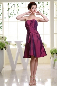 Ruched Burgundy Bridesmaid Dress Princess Taffeta Knee-length