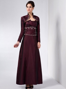 Burgundy Strapless Ankle-length Mother Of The Bride Dress