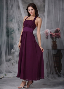 Dark Purple Bridesmaid dress Halter Chiffon Ruched Ankle-length