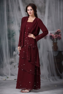 Burgundy Mother Of The Bride Dress Straps Chiffon Beading
