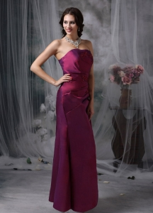 Strapless Bridesmaid Dress Burgundy Appliques Taffeta Side Zipper