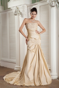Champagne Strapless Court Train Satin Pageant Celebrity Dress