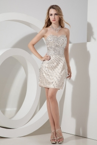 Champagne Mini-length Nightclub/Homecoming Dress Rhinestones