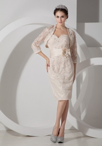 Champagne Sweetheart Satin Belt Lace Mother of the Bride Dress
