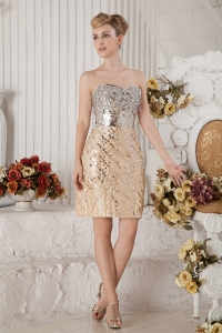 Champagne Sweetheart Grand Dress Mini-length Sequin Beading