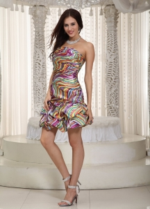 Printing Nightclub/Homecoming Dress Colorful Mini-length