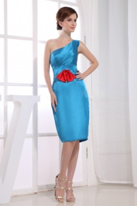 One Shoulder Teal Bridesmaid Dress Knee-length Taffeta Column
