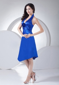 Royal Blue Ruched Taffeta Knee-length Halter Bridesmaid Dress