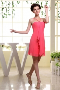 Coral Red Chiffon Bridesmaid Dress Spaghetti Straps Mini-length