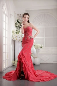 Coral Red Court Train Prom Pageant Dress Appliques Sweetheart