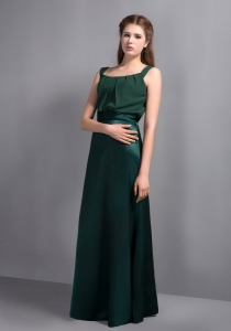 Square Dark Teal Taffeta and Chiffon Bridesmaid Dresses