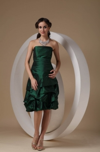 Strapless Bridesmaid Dress Dark Green Knee-length Taffeta Beading