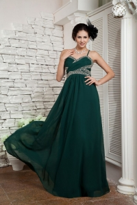Dark Green Spaghetti Straps Celebrity Dress Chiffon Beading