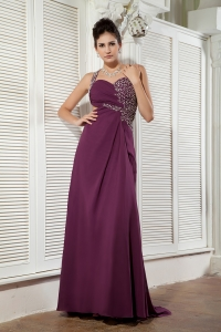 Dark Purple One Shoulder Prom Gown Brush Train Chiffon