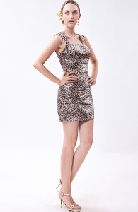 Wide Straps Mini-length Zebra Nightclub/Graduation Dress
