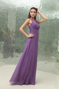 Empire Chiffon Purple V-neck Bridesmaid Dress Ruched