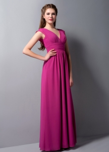 Cheap V-neck Bridesmaid Dresses Fuchsia Chiffon Column