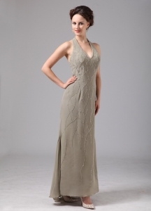 Green Mother Of The Bride Dress Halter Chiffon Ankle-length