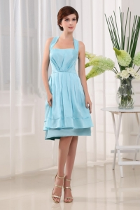 Halter A-Line Knee-length Taffeta Light Blue Birdesmaid Dress