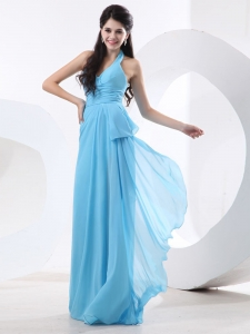 Halter Aqua Blue Custom Made Prom Dress With Ruch