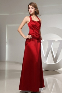 Halter Wine Red Prom Dress Ankle-length Satin Column Ruched