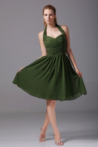 Halter Ruched Chiffon Knee-length Olive Green Bridesmaid Dress
