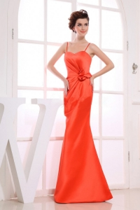 Orange Spaghetti Straps Column Ruchings Prom Dress