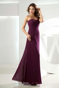 Burgundy Column Prom Dress One Shoulder Chiffon Beading