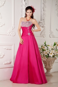 Hot Pink Dress for Pageant A-line Sweetheart Silver Beading