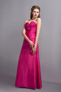 Discount Hot Pink Bridesmaid Dress Strapless Floor-length Ruched