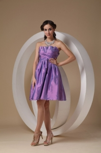 Ruched Bridesmaid Dress Strapless Lavender A-line Mini-length