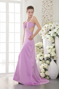 Beading Prom Pageant Dress Lavender Halter Brush /Sweep Train