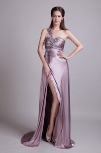 One Shoulder Pageant Evening Dress Lavender Brush Train Beading