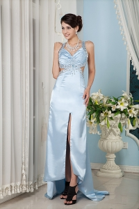 Straps Pageant Evening Dress Light Blue Brush Train Beading