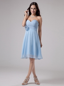 Sweetheart Light Blue Homecoming Dress Ruched Knee-length