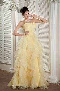 Light Yellow Organza Ruffles Beading Celebrity Dress