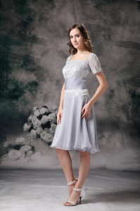 Lilac Square Chiffon Lace Beading Mother Of The Bride Dress